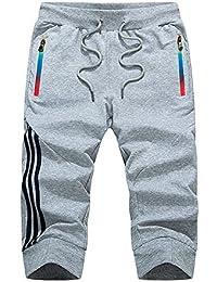Manluodanni Homme Pantalon Court Décontracté Short et Bermuda Sport Jogging  Casual Slim Fit ... 8c30ed301cb