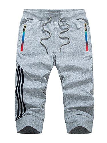 Manluodanni Homme Pantalon Court Décontracté Short et Bermuda Sport Jogging Casual Slim Fit Multi Poches en Coton et Polyeste Gris M