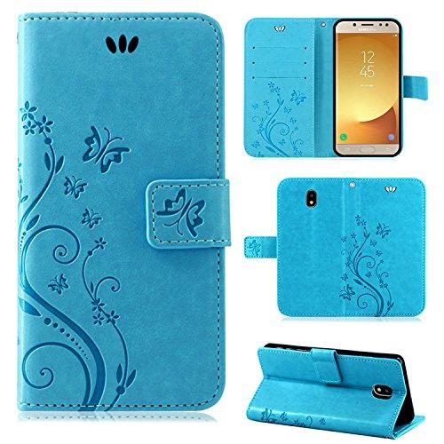 betterfon | Flower Case Handytasche Schutzhülle Blumen Klapptasche Handyhülle Handy Schale für Samsung Galaxy J5 2017 DUOS Blau