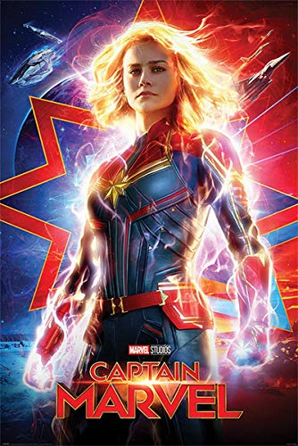 Close Up Captain Marvel Poster Higher