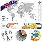 #benehacks Weltkarte zum Rubbeln in ENGLISCH - Rubbelweltkarte - Landkarte zum Freirubbeln (Farbe Silber/Weiß 84 x 44 cm)