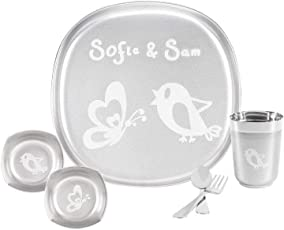 Sofie & Sam 6 Pieces Stainless Steel Square Plate, Bowl, Glass, Cutlery Baby Feeding Dinner Set