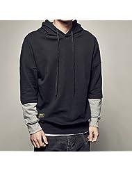 Nuevo estilo americano calle moda retro empalme manga de primavera con capucha suéter cabeza falsa dos zamarro,M