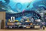 Weaeo Benutzerdefinierte Mural 3D Fototapete Unterwasser Welt Anime Dekor Malerei 3D Wandbilder Wallpaper Für Wohnzimmer Wände 3D-120X100cm