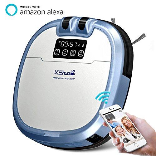 Haier Xshuai C3 Robot inteligente de aspiradora con Siri y Amazon Alexa Voice Control cámara de video chat Limpieza de horarios Auto-Charge 5 modos de limpieza Filtro HEPA para alfombras de alergenos
