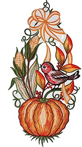 Fensterbild 16x30 cm + Saugnapf Plauener Stickerei Spitze Kürbis mit Vogel Spitzenbild Halloween...
