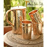 Prisha India Craft ® Best Quality Pure Copper Jug ( Hammered Jug 1650 ML / 55.80 Oz ) With Four Glass Drinkware Set Of Jug And Glass - Copper Jug Glass Set - Tumbler Set - DIWALI Gift