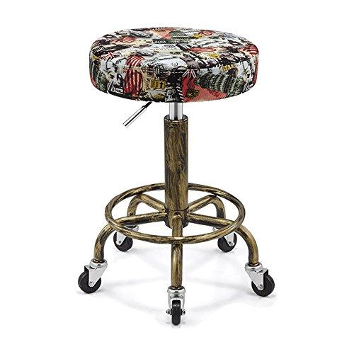 Flashing Weinlese-explosionssicherer Schönheits-Stuhl kann rotierende PU-lederne Druck-Rollstuhl-Schönheits-Schemel-Arbeits-Bank anheben (Farbe : 3, größe : T32cm)