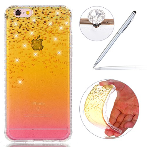 Felfy Silicone Coque pour iPhone 6S Plus,iPhone 6 Plus Case Original,iPhone 6S Plus Coque Noir Ultra Mince Extra Slim Etui Fleur Colorés Motif Relief Design Flex Soft Gel TPU Silicone Caoutchouc Etui  Sable