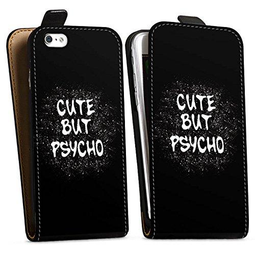 Apple iPhone SE Silikon Hülle Case Schutzhülle Cute but Psycho Statement Spruch Downflip Tasche schwarz