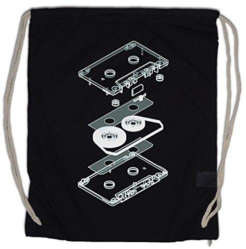 Urban Backwoods Explosion Audio Cassette Bolsa de Cuerdas con Cordón Gimnasio 80s Kassette DJ MC Music VHS Tape Player Shirt