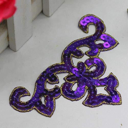 Vintage Metallic Trim (Astonish YACKALASI Sequined Cosplay Appliqued Patches 3D Metallic Venise Blume Trim Eisen auf Vintage Blume 9.5 * 6cm: Lila)