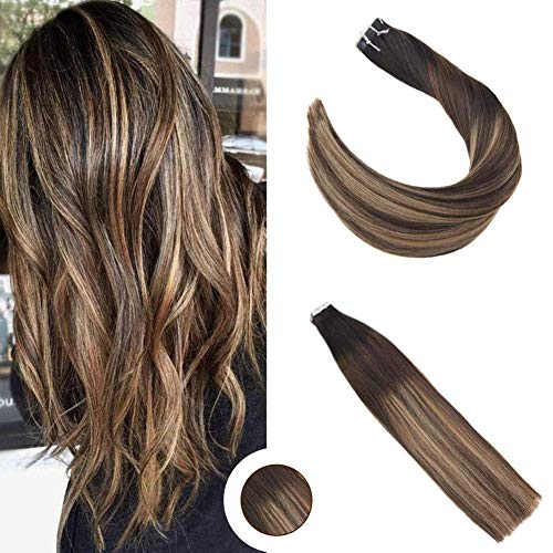 Ugeat Tape extensions echthaar 18zoll Remy Echthaar Haarverlängerung 50g # 1b/3/12 Off Black Fading zu dunkler Brown mit Light Golden Brown
