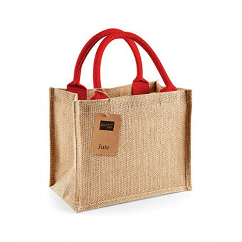 Westford Mill Jute-Tasche/Jute-Mini-Geschenktasche, 6 Liter (2 Stück/Packung) (Einheitsgröße) (Natur/Rot) -