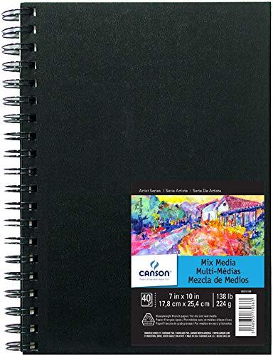 Canson Art Book Mix Media 100516109 Carnet à spirale papier à dessin Blanc 40 feuilles 224 g 17,8 x 25,4 cm Couverture Noir