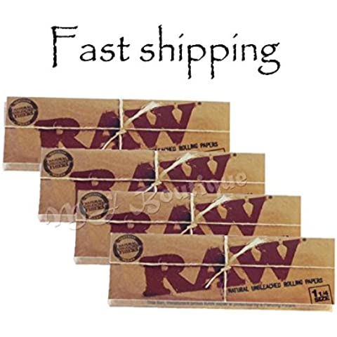 RAW Organic 1 1/4 Rolling Papers Pack of 4 by Raw