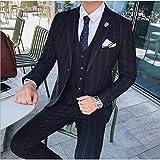 GFRBJK Costumes pour Hommes Blazer Slim Fit Mariage Hommes de Mariage marié Costume smokings Costume de Bal Occasionnels Veste + Pantalon + Gilet 3 pièces Blue Bleu Marine M