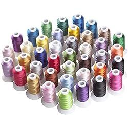 Simthreads 40 Farben Polyester Maschinen Stickgarn - 500 Meter (550Y), für Brother/Babylock / Janome/Kenmore / Singer Stickereimaschine