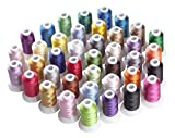 Simthreads 40 Couleurs Polyester fil de machine à broder pour Brother/Babylock/Janome/Singer/Kenmore Machine, 500 mètres/bobine