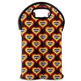 Neoprene Wine Tote Bag Insulated Rainbow I Love Szechuan Sauce Heart Travel Padded 2 Bottle Wine/Champagne Cooler Carrier