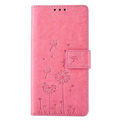 Custodia per LG K8, Etsue lusso di stile del dente di leone modello di colore puro marrone ultra molle Portafoglio in pelle cassa di libro Con chiusura magnetica Ultra Slim Fit Sottile flip copertura  Dandelion,Pink