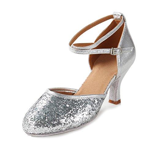 HIPPOSEUS Damen & Mädchen Sandalen Ausgestelltes Tanzschuhe/Ballsaal Standard Pailletten Latein Dance Schuhe,DEWXCL-7,Pailletten+Silber,UK 3/EU 35