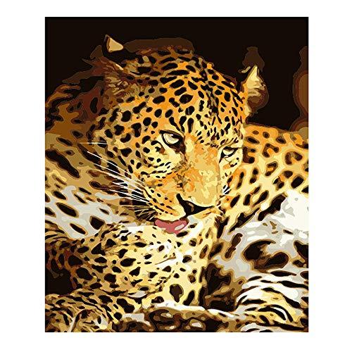 YMX DIY Family Malen Nach Zahlen Für Erwachsene Anfänger Kinder Kinder Spot Leopard Tier-No Frame