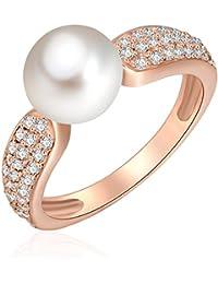 Valero Pearls - Bague - Argent sterling 925 (dorée rose) - Bijoux de perles oxyde de zirconium - Bijoux pour femmes - En plusieurs tailles, bague oxyde de zirconium - 60925025