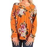 WanYang Camiseta Estampada de Manga Larga Para Mujer con Estampado de Flores y Blusas Camiseta de Viaje Capucha Sweatershirt Pullover