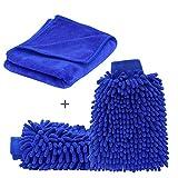 SYCEES 2 Stücke Wasserdicht Mikrofaser Autowaschhandschuh und 1 Stück Microfasertuch Set, weicher Korallen Auto Chenille Waschhandschuh Handschuh mit Reinigungstuch Trokentuch Poliertuch für Autowäsche