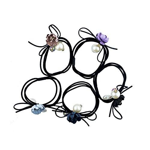 HAND Fleur, Cristal et Perle Nacrée Noire Queue de Cheval Hairband Boucles - Pack DE 5