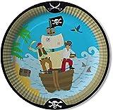 8 Teller * PIRATEN * für Party und Geburtstag von DH-Konzept // Set Plates Pappteller Partyteller Pirates Freibeuter Schwarze Flagge Totenkopf