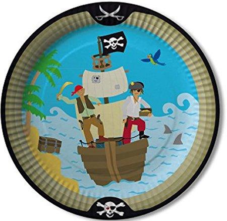 DH-Konzept 8 Teller * Piraten * für Party und Geburtstag Set Plates Pappteller Partyteller Pirates Freibeuter Schwarze Flagge Totenkopf