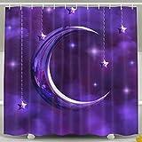 oklety mit wasserdichter Duschvorhang mit Mond-Vorhänge, 60x 60cm