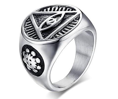 Vnox Triangle en acier inoxydable pour homme Tout le regard de l'oeil de Dieu Signet Band Ring Retro Bijouterie égyptienne