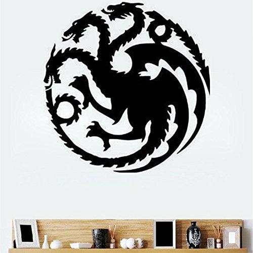 Inovey T-18 Game of Thrones Tangeri Lian Targaryen Famille Emblème Trois Or Dragon Sculpté Stickers Muraux