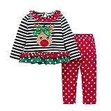Bekleidungssets,BBTXS Baby Mädchen Kleidung Set Hirsch gestreift Top Langarm Shirt + Pants Bekleidungsset Outfits Weihnachtsoutfits (100)