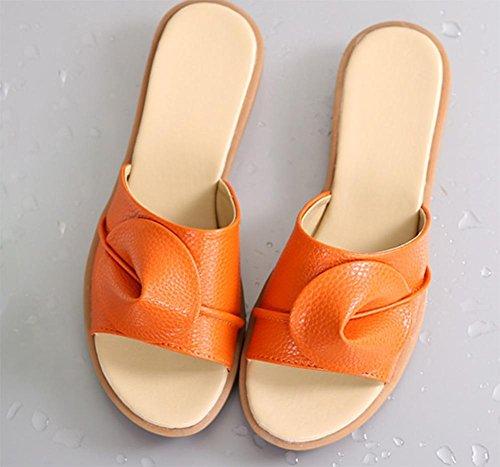 Strand Sandalen und Pantoffel weiblichen Sommer Mode Hang mit schweren Boden Schuhen ziehen Sie das Wort Orange