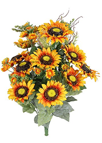 Admired by Nature 24 stelo artificiale girasole Cosmo mini bacche Flower Bush per matrimonio, ristorante casa ufficio decorazione Arrangemen,