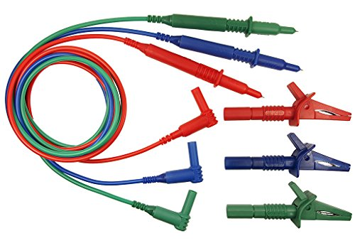 UNFUSED 3 WIRE TEST LEADS - SUITABLE FOR MEGGER MFT1710, MFT1720, MFT1730 & MFT1735 MULTIFUNCTION TESTER - RED, BLUE & GREEN Test