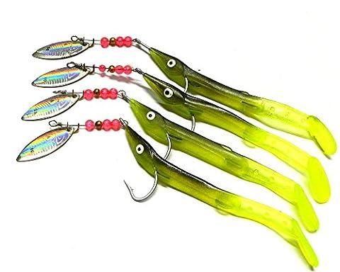 Leurre Cuillère hengjia Lot de 4 Pike Leurre Swimbait réaliste artificiel doux 0.2oz appâts de pêche crochet pour guitare basse à la carpe Perche Jig