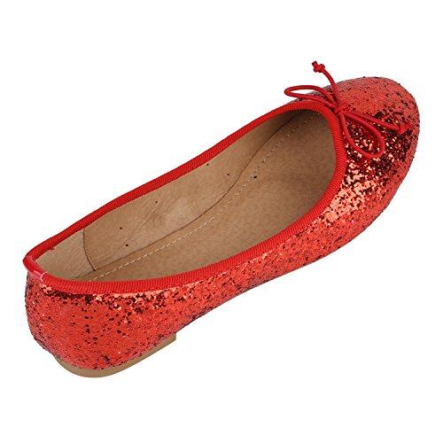Klassische Damen Ballerinas | Flats Leder-Optik Lack | Metallic Schuhe Glitzer Schleifen | Ballerina Schuhe Übergrößen Rot Glitzer