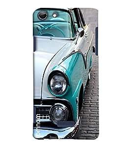 Omnam Vintage Open Car Blue Printed Designer Back Cover Case For Micromax Selfie 3 Q348