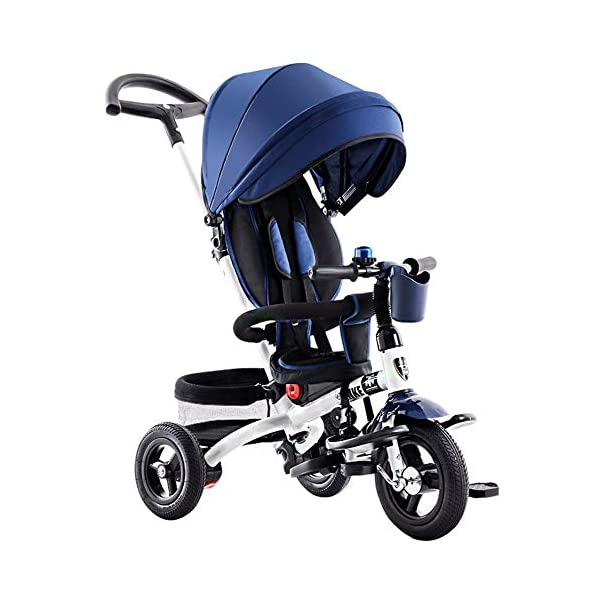 GSDZSY - 4 IN 1 Children Tricycle, 120 ° Adjustable Seat, Baby Can Sit Or Recline, Seat Is Comfortable And Easy To Use,1-6 Years Old GSDZSY ❀ Material: High carbon steel + ABS + rubber wheel, suitable for children from 1 to 6 years old, maximum load 30 kg ❀ Features: The seat can be rotated 360; the backrest can be adjusted, the baby can sit or lie flat, adjustable push rods and parasols, suitable for different weather conditions ❀ Performance: high carbon steel frame, strong and strong bearing capacity; rubber wheel suitable for all kinds of road conditions, good shock absorption, seat with breathable fabric, baby ride more comfortable 1