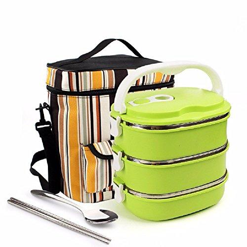 Fach Raster (SDKKY Mehrschicht Edelstahl Isolierung Lunch-Boxen, Lunch-Boxen für Studenten, drei Lunchboxen Punkte Raster Topf)