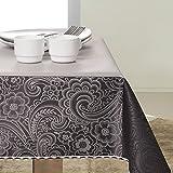 140x260 schwarz grau stahl anthrazit silber Tischdecke Tischtuch elegant praktisch pflegeleicht fleckgeschützt Fiori