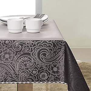 140x200 schwarz grau stahl anthrazit silber Tischdecke Tischtuch elegant praktisch pflegeleicht fleckgeschützt Fiori