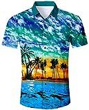 Goodstoworld Kurzarmhemd Herren Sommer Slim Fit Comfort Aloha Strandhemd Bunt Blumen Kurzes Hemd Shirt für Männer XXL