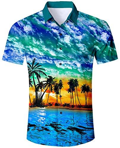 Goodstoworld Hawaiihemde Herren Freizeit Hemden Slim Fit Aloha Hawaii Style 3D Bunt Kurzarmhemd Männer Hemd Shirt XL