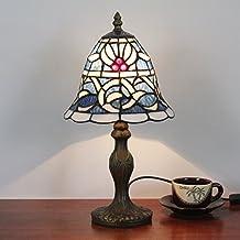 Gweat 8 pollici blu di stile mediterraneo con Bianco Rattan Tavolo Tiffany Lampada da tavolo Lampada da comodino Desk Lamp Lampada per bambini